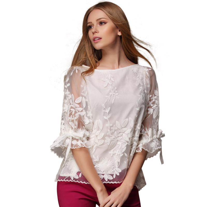 白色雪纺衬衫 2019女装新款雪纺衫上衣欧洲站刺绣小衫上衣白色打底衬衫_推荐淘宝好看的女白色雪纺衬衫