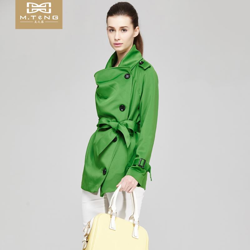 韩版风衣外套 美之藤 春季新品韩版中长款百搭修身风衣外套女装 M2123A02_推荐淘宝好看的女韩版风衣外套