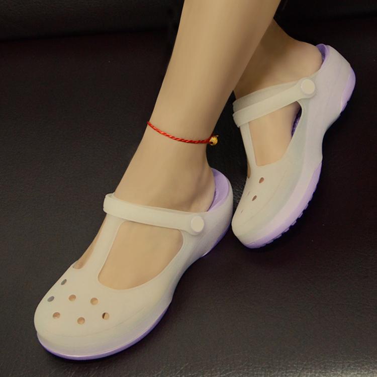 厚底鞋 变色果冻洞洞鞋舒适软底厚底中跟包头夏季百搭女鞋沙滩鞋拖鞋凉鞋_推荐淘宝好看的女厚底鞋