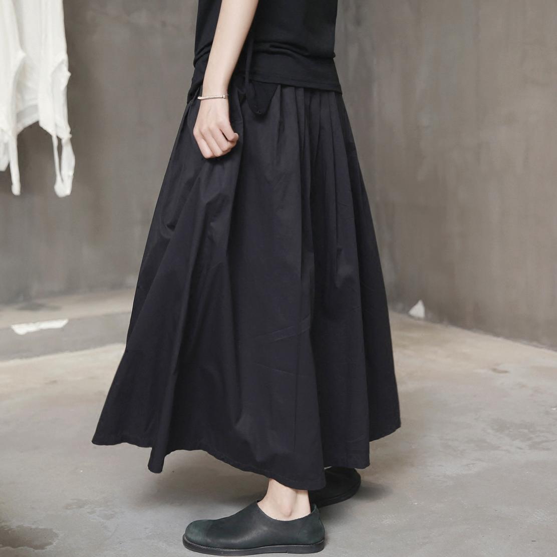 半身长裙子 SIMPLE BLACK 暗黑风格蓬松褶皱薄棉半身中长裙_推荐淘宝好看的半身长裙