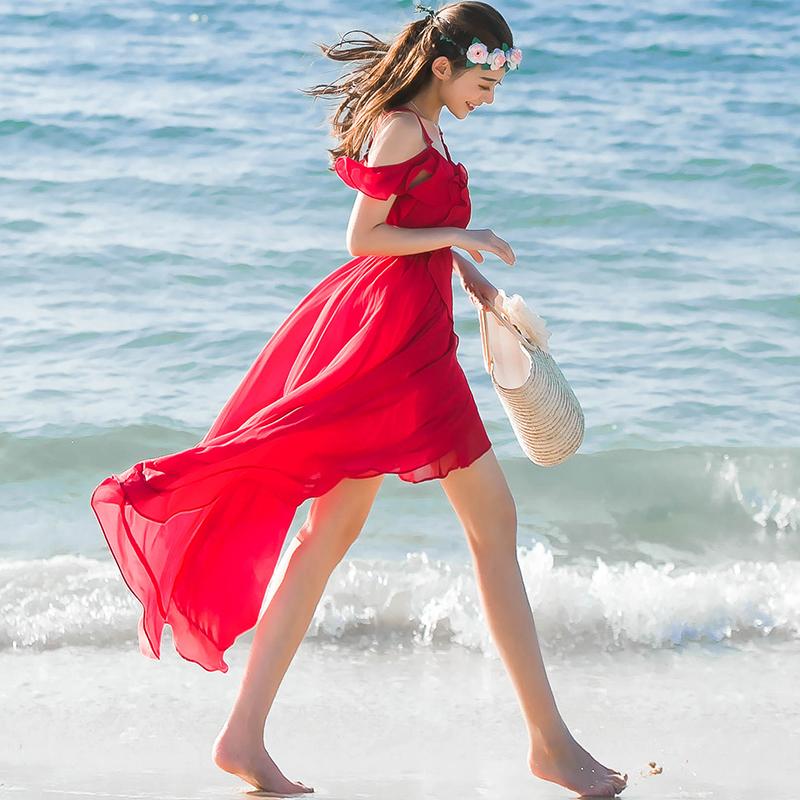 雪纺吊带连衣裙 夏季吊带长裙红色雪纺连衣裙丽江旅游三亚海边露肩露背度假沙滩裙_推荐淘宝好看的雪纺吊带连衣裙