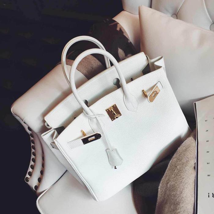 欧美时尚手提包 包包女2019新款锁扣包欧美荔枝纹铂金大包手提单肩斜挎女士包袋_推荐淘宝好看的女欧美手提包