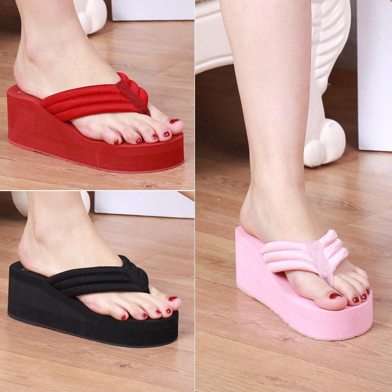 粉红色松糕鞋 新款 拖鞋粉红色坡跟平底浅蓝色人字松糕跟 高跟凉拖人字拖鞋_推荐淘宝好看的粉红色松糕鞋