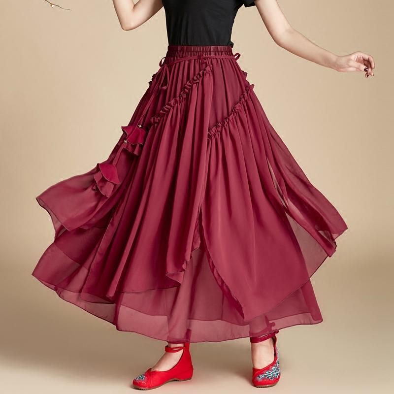 红色半身裙 半身裙春夏季女装2019新款中长款不规则红色雪纺复古民族风裙子_推荐淘宝好看的红色半身裙