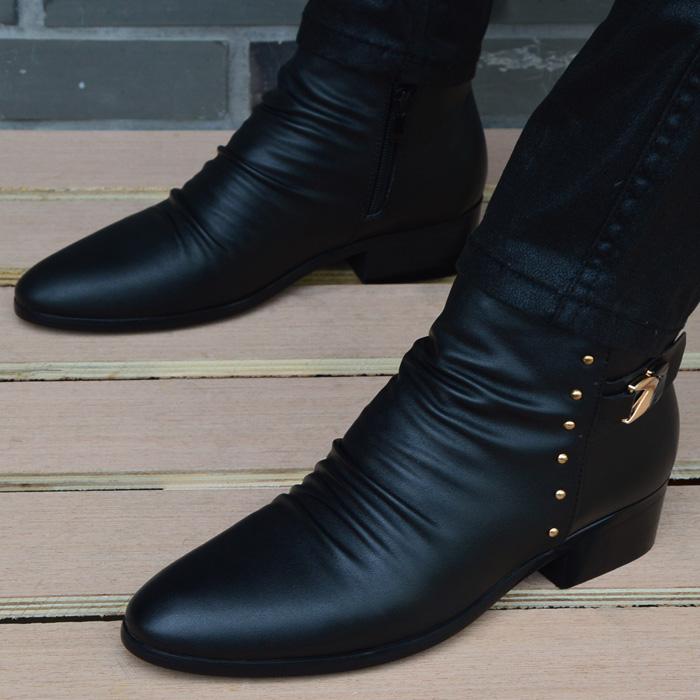 尖头短靴 韩版时尚短靴男鞋子英伦尖头高帮皮鞋真皮增高男靴冬季男士马丁靴_推荐淘宝好看的尖头短靴