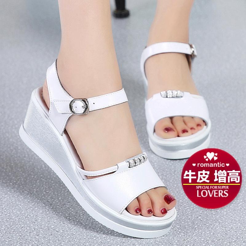 白色松糕鞋 水钻女士坡跟凉鞋女真皮中跟厚底百搭舒适松糕鞋防水台粗跟白色_推荐淘宝好看的白色松糕鞋