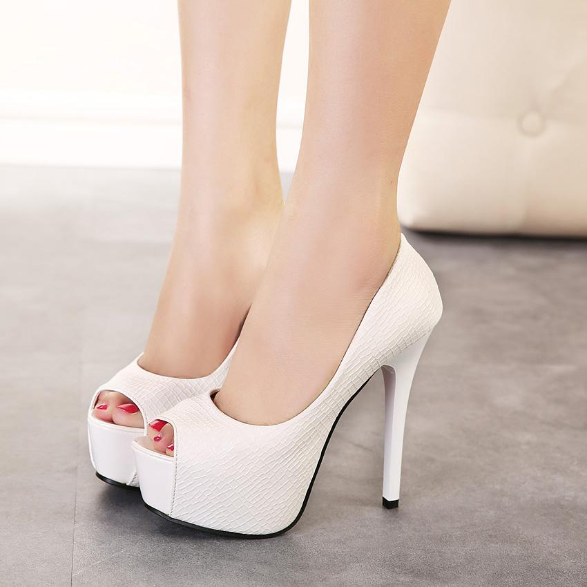 白色鱼嘴鞋 14cm超高跟鱼嘴单鞋春秋新款防水台细跟女鞋韩国公主白色高跟女鞋_推荐淘宝好看的白色鱼嘴鞋