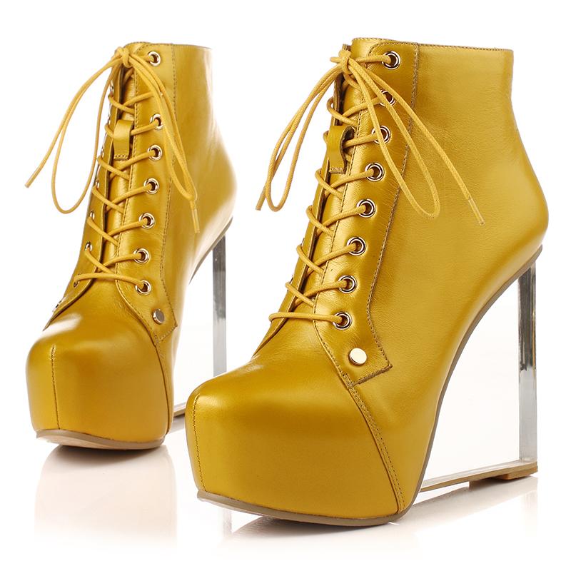 黄色坡跟鞋 春秋黄色真牛皮短靴水晶坡跟内防水台系鞋带裸靴时尚单女靴超高跟_推荐淘宝好看的黄色坡跟鞋