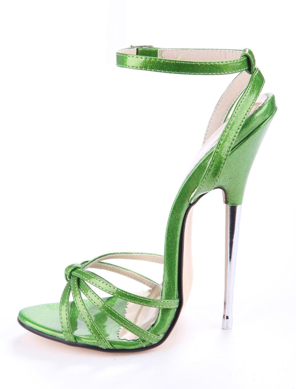 新款女士高跟凉鞋 2019新款性感  16cm绿色金属跟尖头细跟大码超高跟 走秀女凉鞋_推荐淘宝好看的女新款高跟凉鞋