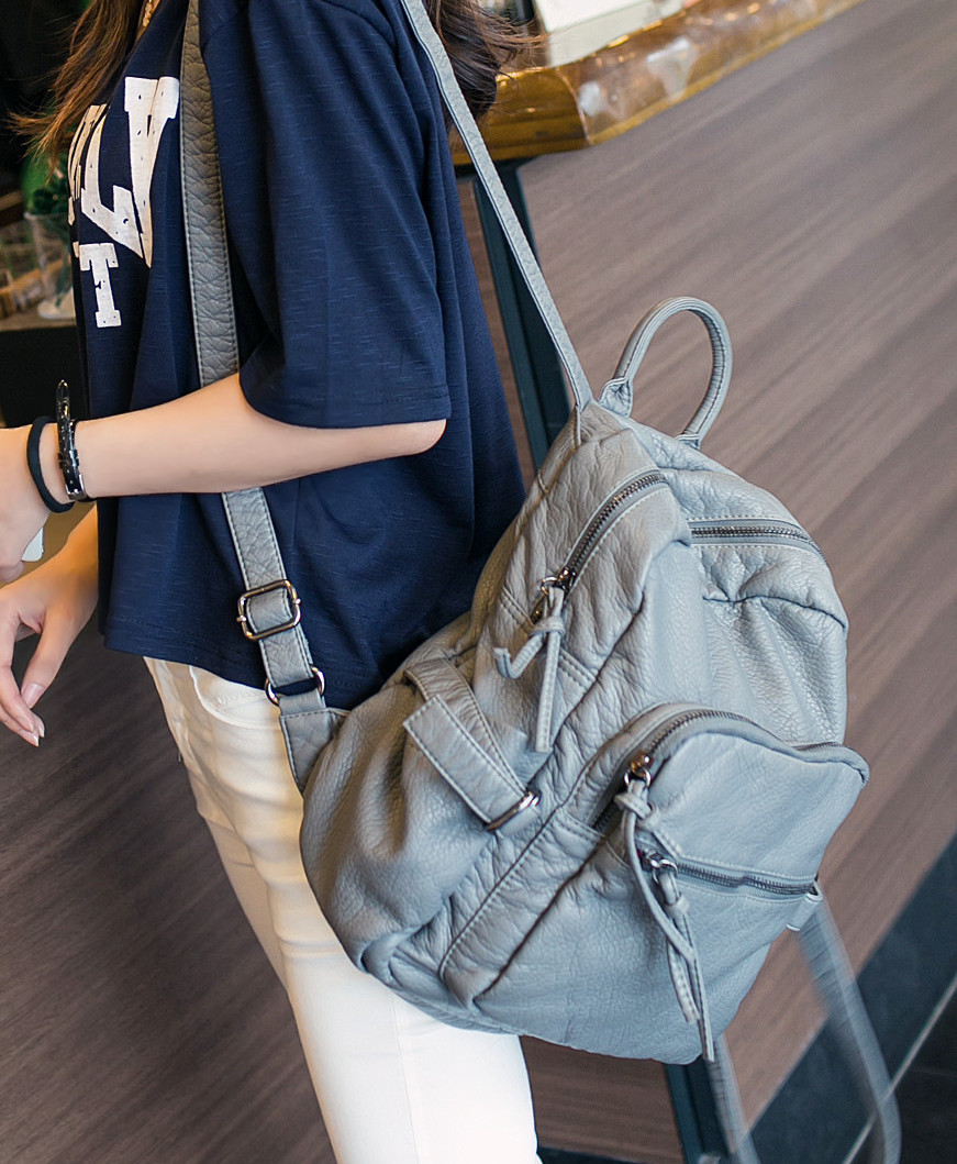 女式双肩包 2021新款包包潮 韩版灰色水洗皮双肩包女包休闲背包书包旅行包_推荐淘宝好看的女双肩包
