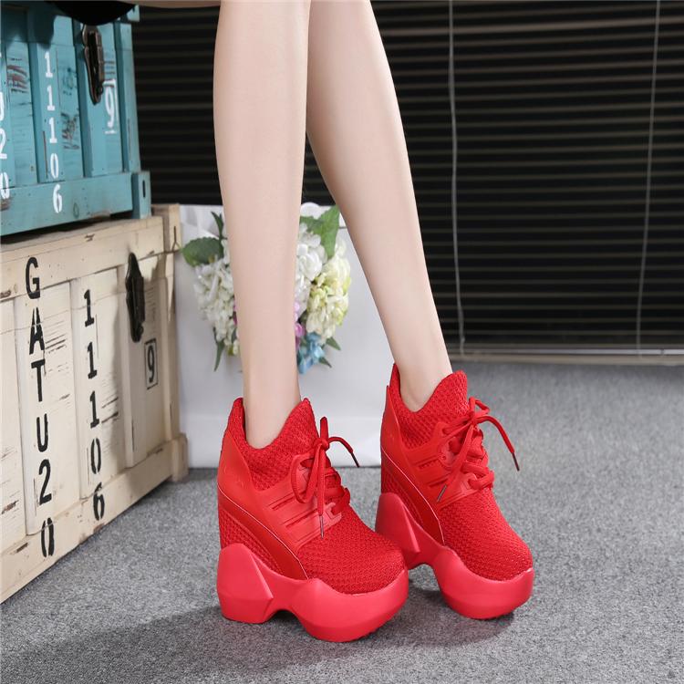 红色松糕鞋 秋松糕红色33超高跟12CM32运动鞋31系带鞋30厚底内增高女鞋34小码_推荐淘宝好看的红色松糕鞋