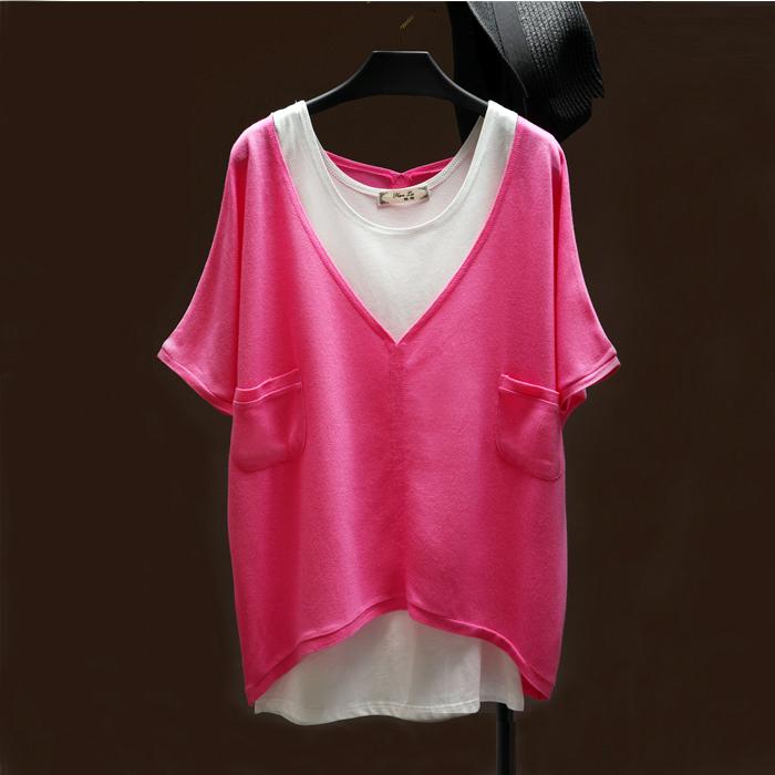 t恤 2021夏季新款韩版宽松纯色上衣短袖中长款t恤女v领蝙蝠衫两件套装_推荐淘宝好看的女t恤