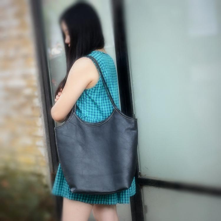 女式真皮手提包 包包女手工真皮原创头层牛皮新款休闲简约单肩手提包百搭通勤文艺_推荐淘宝好看的女真皮手提包