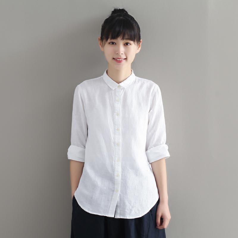 白衬衫 听心亚麻七分袖衬衫女基本款森系清新文艺复古甜美纯麻上衣夏秋_推荐淘宝好看的女白衬衫