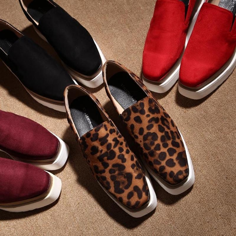 豹纹坡跟鞋 春秋松糕鞋厚底方头绒面坡跟豹纹单鞋乐福鞋一脚蹬懒人鞋增高女鞋_推荐淘宝好看的豹纹坡跟鞋