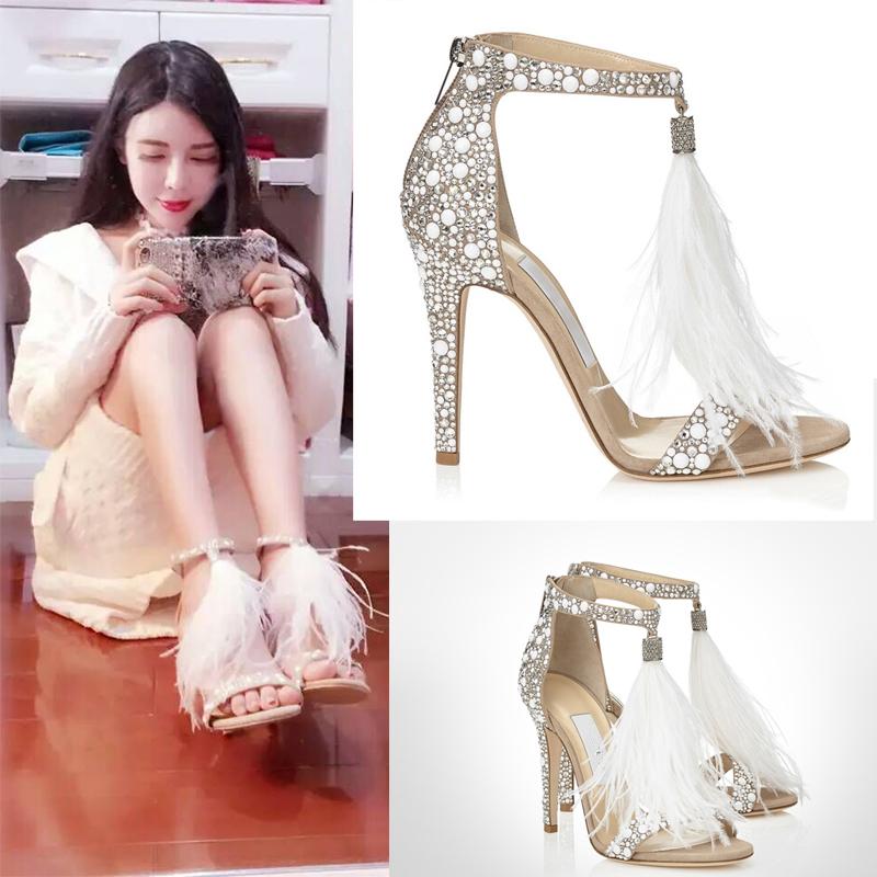 白色凉鞋 水钻羽毛流苏高跟鞋水晶鞋凉鞋女细跟婚鞋新娘鞋白色婚纱鞋凉鞋夏_推荐淘宝好看的白色凉鞋