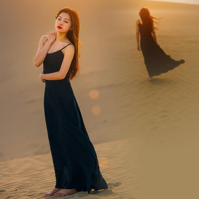 黑色蕾丝连衣裙 女装新款欧美纯黑色露背超长款修身大摆裙雪纺连衣裙蕾丝吊带长裙_推荐淘宝好看的黑色蕾丝连衣裙
