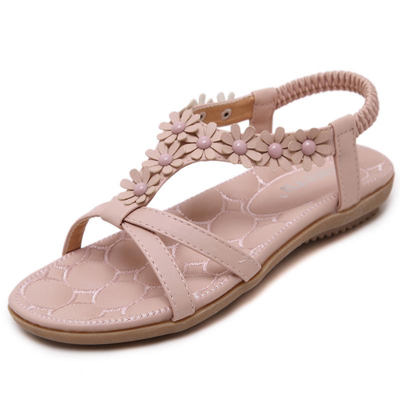 沙滩凉鞋 2020新款波西米亚甜美粉灰色露趾沙滩松紧带软底花朵平底女鞋凉鞋_推荐淘宝好看的女沙滩凉鞋