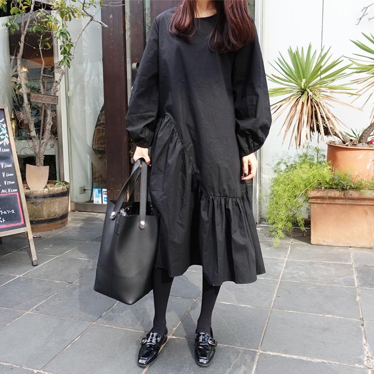 黑色连衣裙 春秋新款黑色不规则中长款连衣裙中长裙女士宽松显瘦灯笼袖长裙子_推荐淘宝好看的黑色连衣裙