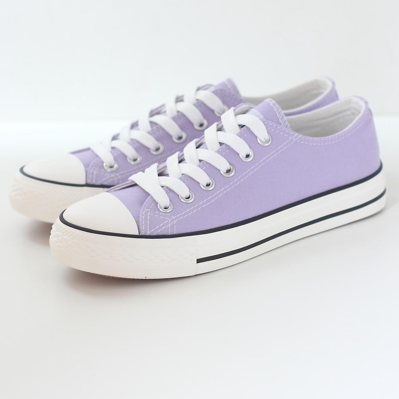 紫色平底鞋 纯色韩版低帮系带平底帆布鞋女鞋运动休闲鞋单鞋紫色女布鞋学生鞋_推荐淘宝好看的紫色平底鞋
