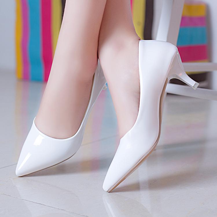 白色高跟单鞋 2020春季新款单鞋女白色高跟职业鞋尖头细跟中跟OL工作鞋四季女鞋_推荐淘宝好看的女白色高跟单鞋