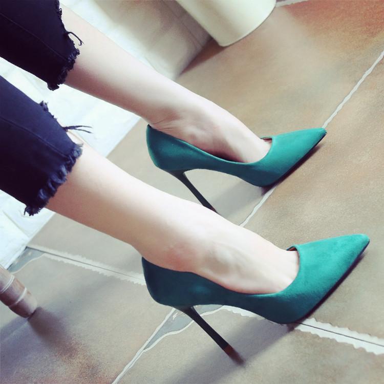 绿色高跟鞋 2020春季新款尖头浅口细跟高跟鞋单鞋女绿色时尚欧美女鞋子欧美风_推荐淘宝好看的绿色高跟鞋