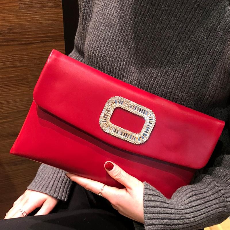 红色信封包 手拿包女2020新款时尚简约手包镶钻个性婚宴包百搭单肩信封小包潮_推荐淘宝好看的红色信封包