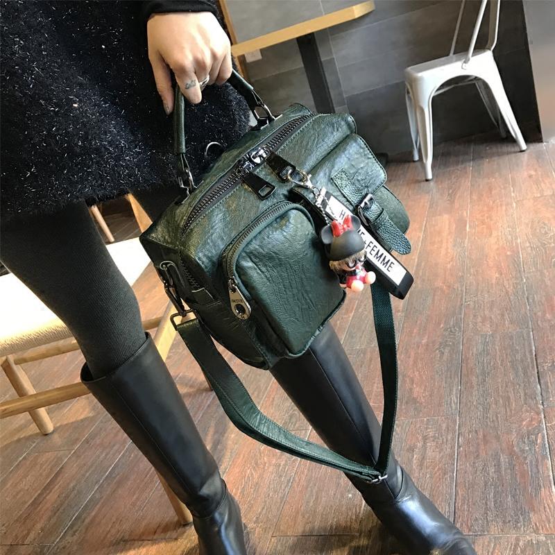 绿色邮差包 韩国潮流软面包包女2020新款时尚多口袋手提包三用百搭斜挎邮差包_推荐淘宝好看的绿色邮差包