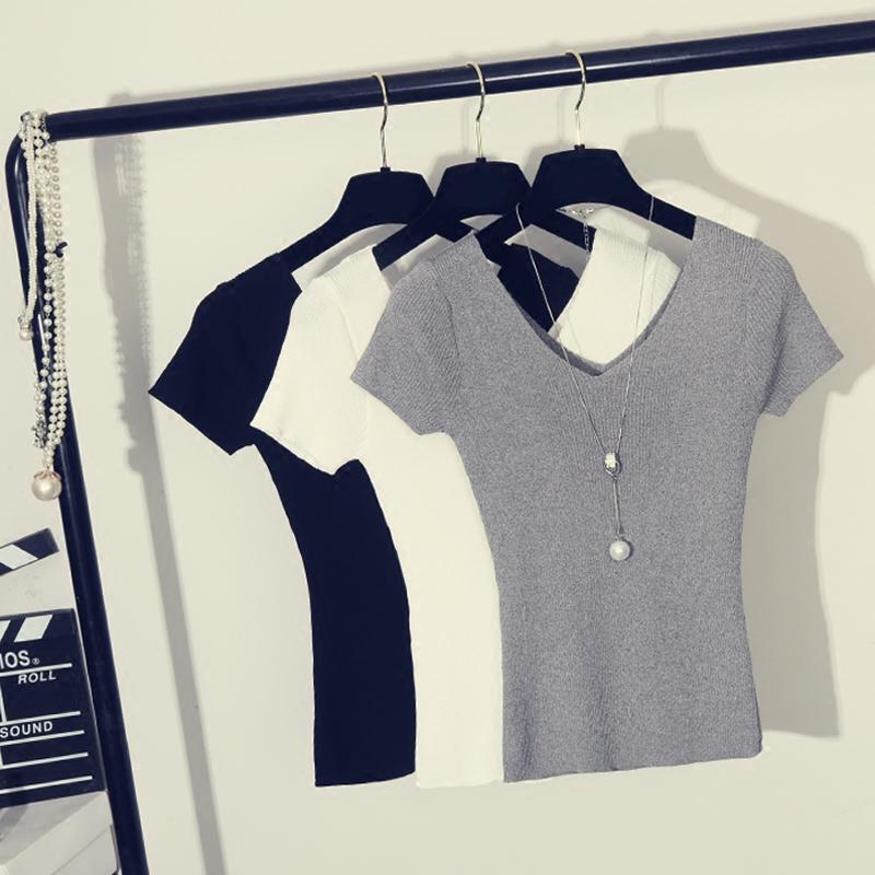 针织衫 春夏装新款女装性感露背双V领冰丝短袖T恤针织修身纯色上衣打底衫_推荐淘宝好看的女针织衫