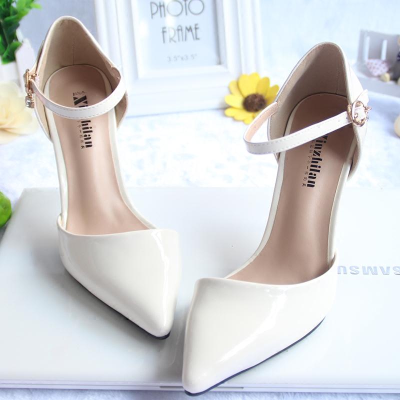 白色尖头鞋 春夏季尖头小码高跟鞋313233一字扣包头凉鞋白色细跟浅口裸色女鞋_推荐淘宝好看的白色尖头鞋