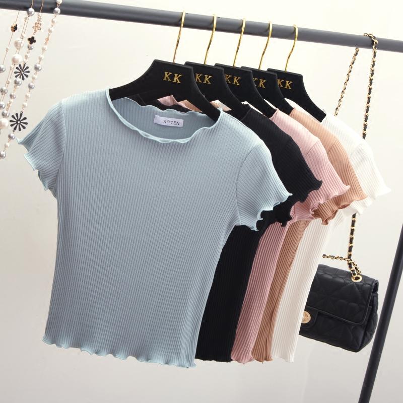 黑色针织衫 夏季白色针织短袖女2021新款t恤紧身短款上衣修身薄款黑色打底衫_推荐淘宝好看的黑色针织衫