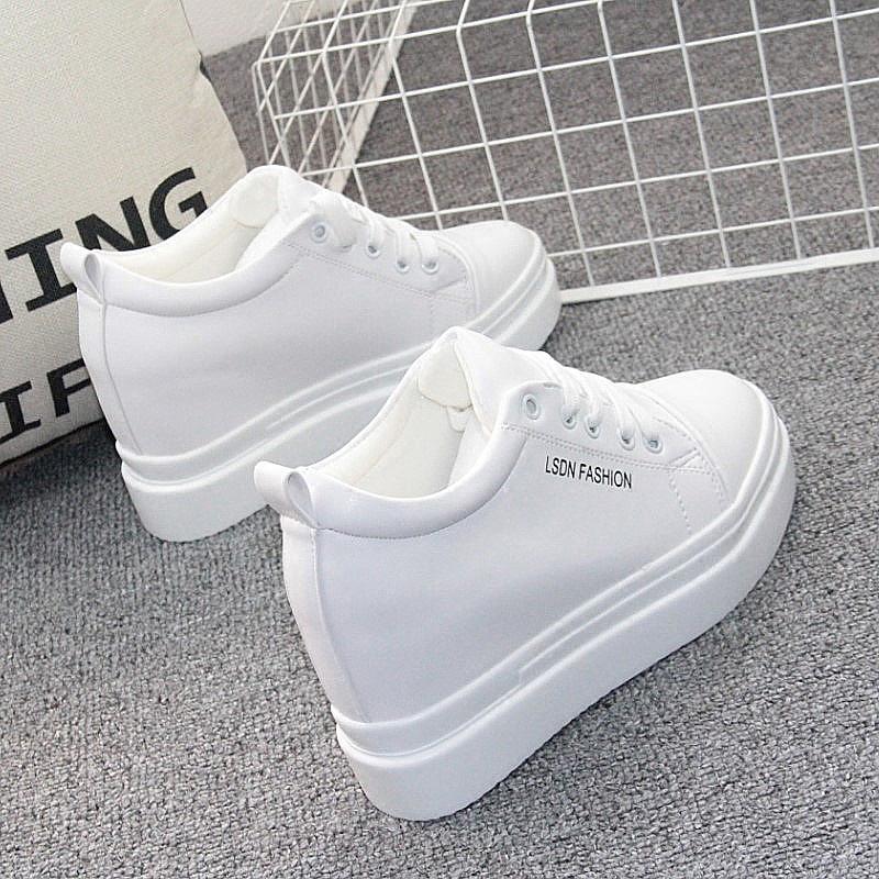 白色坡跟鞋 厚底内增高10cm女鞋子白色运动鞋韩版百搭坡跟小白鞋学生休闲鞋春_推荐淘宝好看的白色坡跟鞋