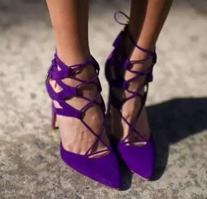 紫色尖头鞋 sillarulers2021女鞋凉鞋紫色黑色尖头超高跟走秀鞋舞台鞋12 10厘_推荐淘宝好看的紫色尖头鞋