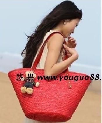 红色草编包 2件包邮费 送熊熊 大红色手工草编织包 沙滩包 女包 草包_推荐淘宝好看的红色草编包