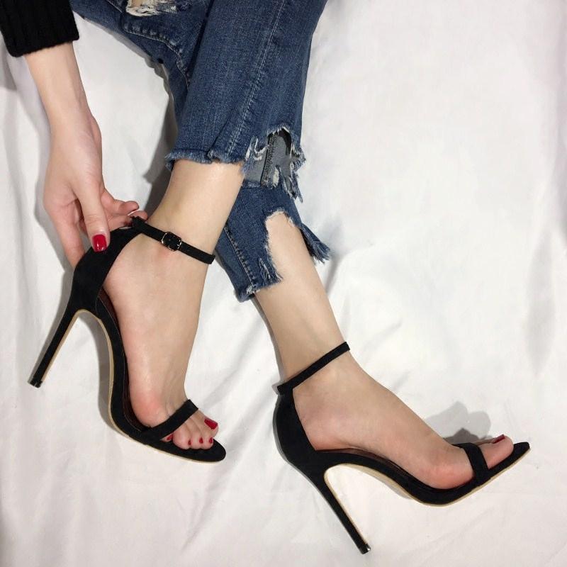 性感高跟鞋 欧美2021夏季新品绒面露趾高跟鞋女细跟性感一字带扣显瘦高跟凉鞋_推荐淘宝好看的女性感高跟鞋