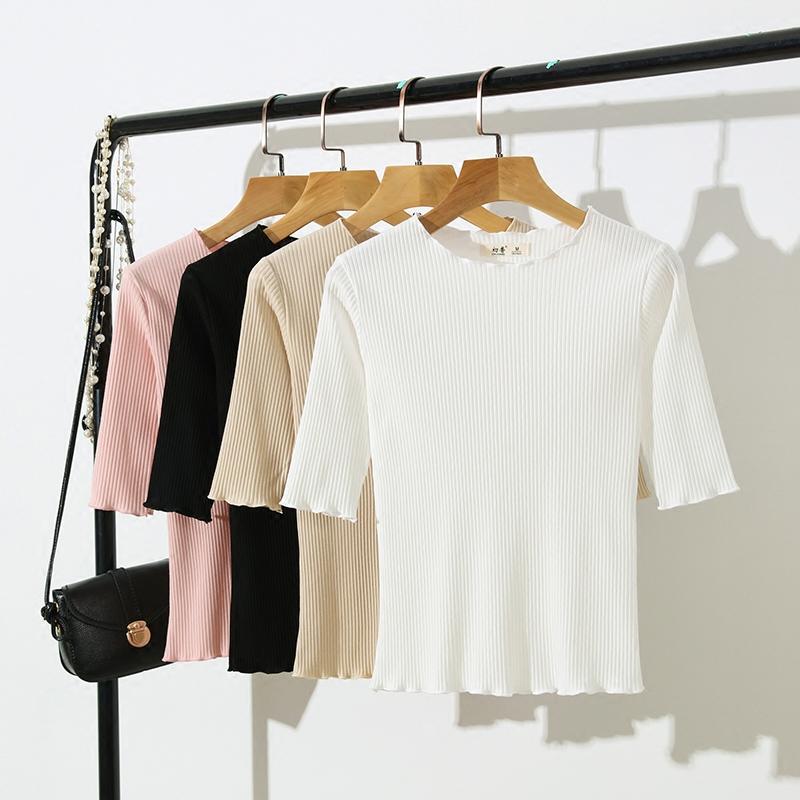黑色针织衫 夏季薄款中袖上衣女白色体恤紧身短款t恤针织衫黑色木耳边打底衫_推荐淘宝好看的黑色针织衫