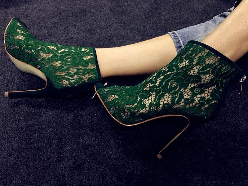 绿色鱼嘴鞋 silla rulers鱼嘴女鞋凉靴超高跟绿色蕾丝网鞋11厘米10厘米蓝色_推荐淘宝好看的绿色鱼嘴鞋