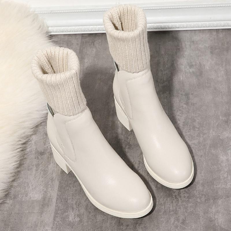 白色靴子 毛线筒短靴白色靴子2019冬季针织中筒靴女平底棉靴粗跟袜靴弹力靴_推荐淘宝好看的白色靴子