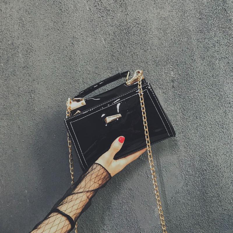 漆皮链条包 上新小包包女2018新款韩版时尚漆皮亮面小方包百搭链条单肩斜挎包_推荐淘宝好看的女漆皮链条包