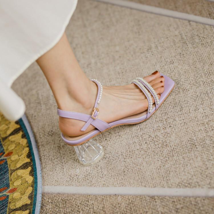 紫色鱼嘴鞋 紫色珍珠米白色方头露趾高跟粗跟透明跟优雅气质凉鞋女2021夏季_推荐淘宝好看的紫色鱼嘴鞋