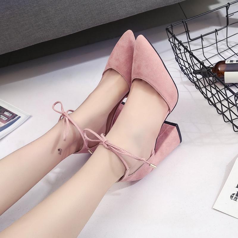 粉红色凉鞋 粗跟凉鞋女夏季中跟包头交叉粉红色尖头高跟鞋绑带一字式中空单鞋_推荐淘宝好看的粉红色凉鞋