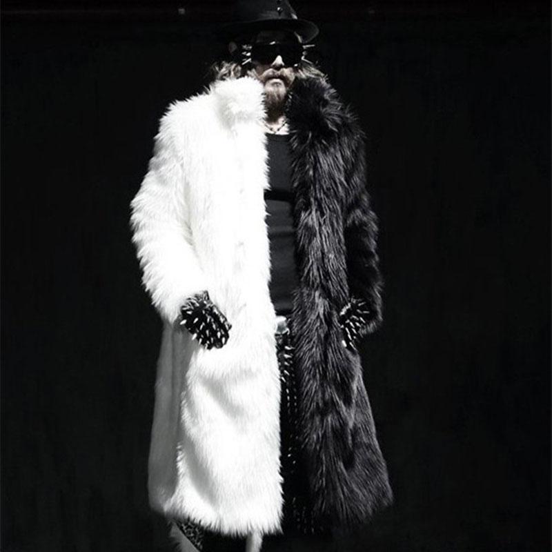 男士立领风衣 冬季新款男装 仿皮草长款外套 狐狸毛男士毛毛黑白拼色风衣大衣_推荐淘宝好看的男立领风衣
