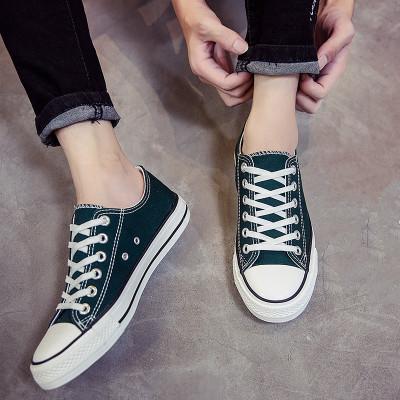 低帮复古板鞋 新款复古百搭高低帮帆布鞋男女情侣鞋黑白墨绿橘黄色运动鞋板鞋潮_推荐淘宝好看的低帮复古板鞋