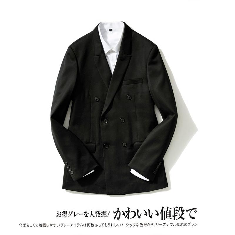 日本西装男 双排扣西服长袖男装薄款45%羊毛修身收腰便西男上衣 日系小西装男_推荐淘宝好看的日西装男