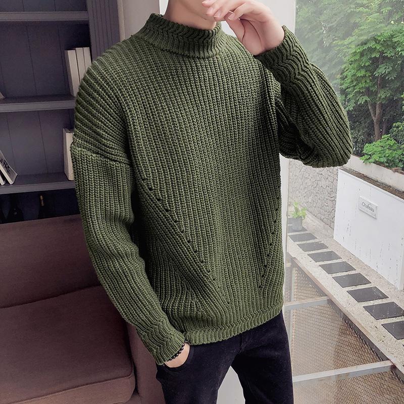 欧美男士高领毛衣 蘑菇街ins新款秋季男装男是s加厚毛线衫纯色高领毛衣欧美范_推荐淘宝好看的欧美男高领毛衣