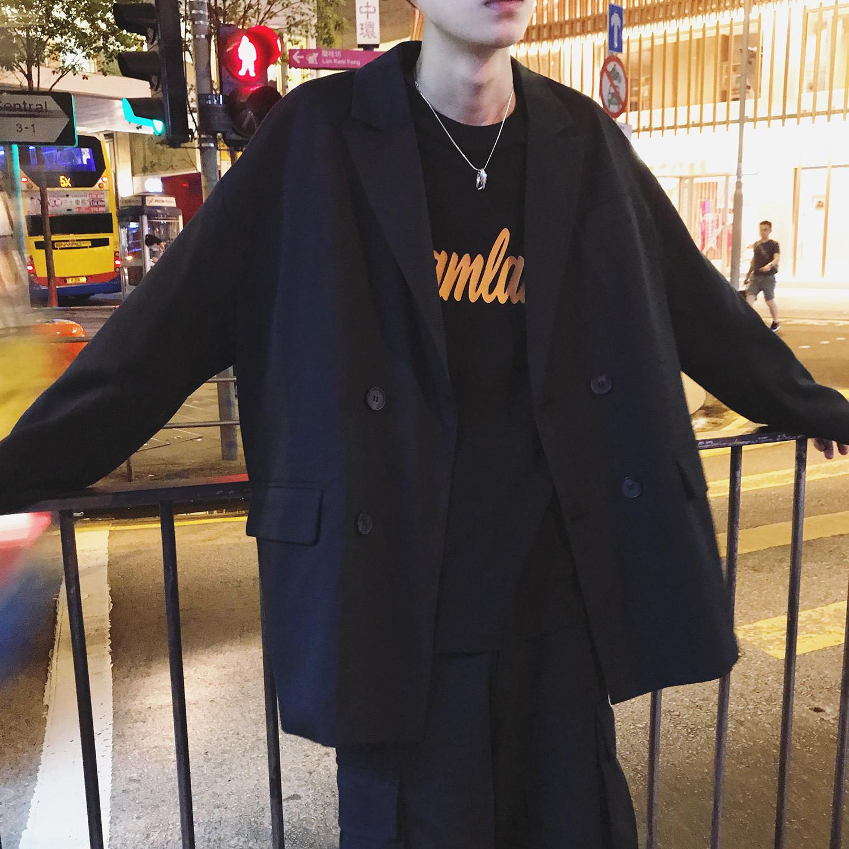 日本西装男 拐角英伦 日系秋季纯色薄款小西装外套纯色休闲西装上衣男士西服_推荐淘宝好看的日西装男