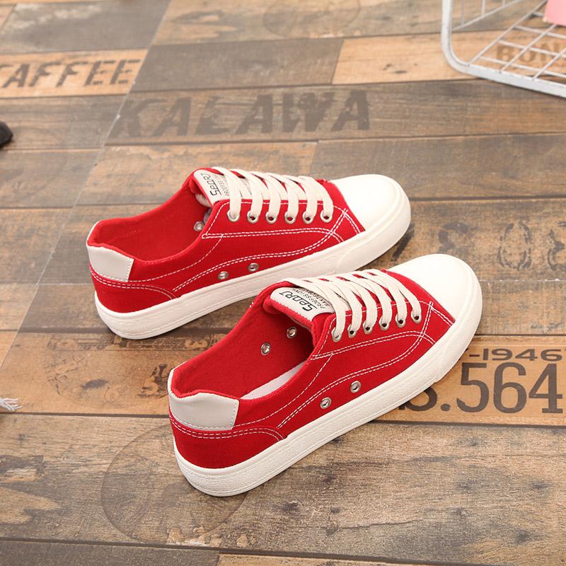 红色帆布鞋 新款大红色女士板鞋大码40 41 42系带平底帆布鞋透气休闲39-43码_推荐淘宝好看的红色帆布鞋
