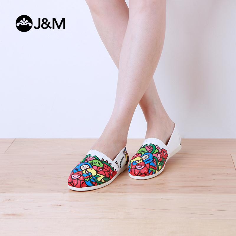 低帮涂鸦帆布鞋 JM快乐玛丽帆布鞋女夏季涂鸦休闲平底套脚低帮懒人布鞋女鞋61813W_推荐淘宝好看的低帮涂鸦帆布鞋