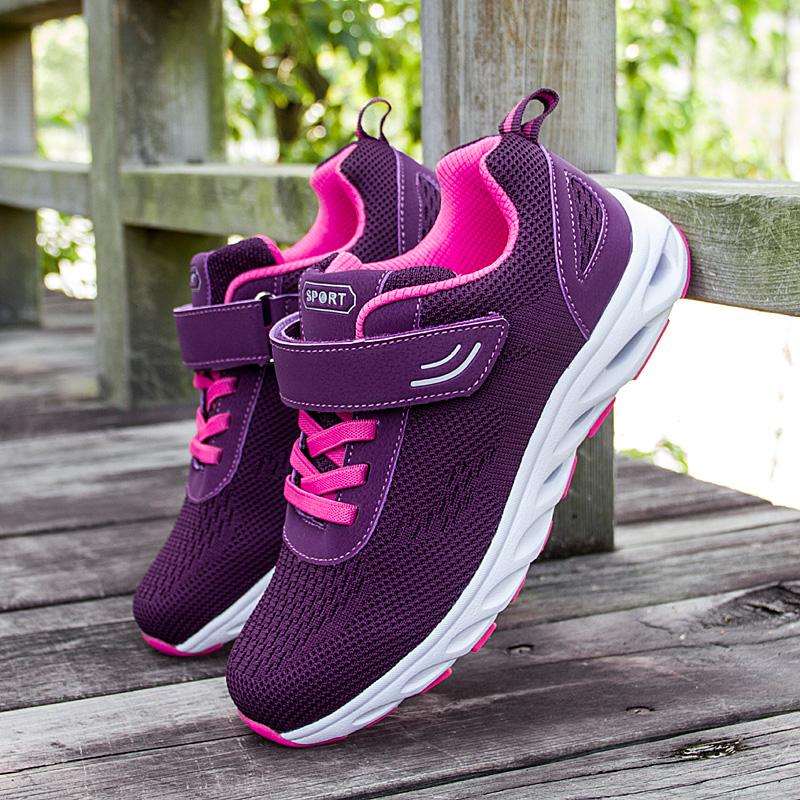 紫色运动鞋 足力老人鞋女张凯丽紫色妈妈夏季网纱健步鞋中老年透气防滑运动鞋_推荐淘宝好看的紫色运动鞋