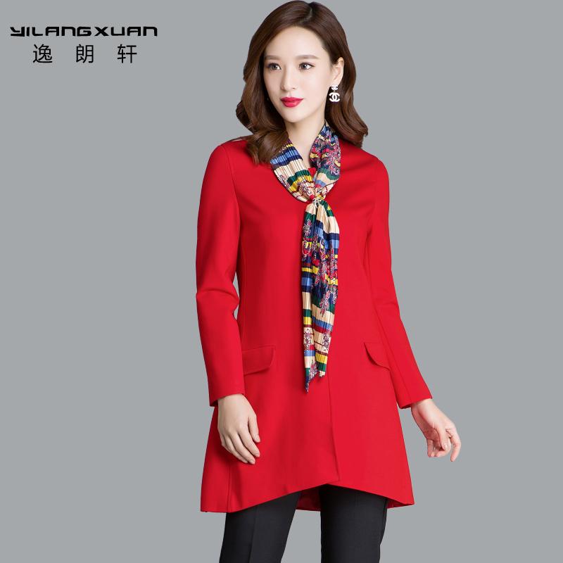红色风衣 逸朗轩春装新款女装外套圆领时尚a字版宽松显瘦休闲风衣女中长款_推荐淘宝好看的红色风衣